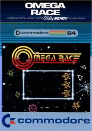 Box cover for Omega Race on the Commodore 64.