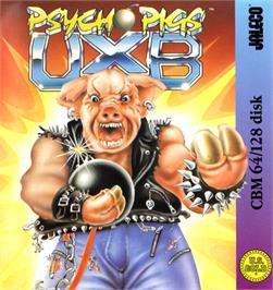 Box cover for Psycho Pigs UXB on the Commodore 64.