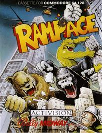 Box cover for Rampage on the Commodore 64.