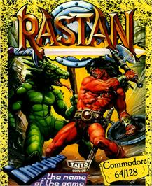Box cover for Rastan on the Commodore 64.