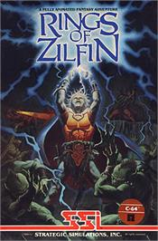 Box cover for Rings of Zilfin on the Commodore 64.