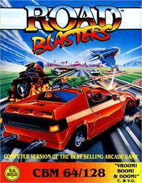 Box cover for RoadBlasters on the Commodore 64.