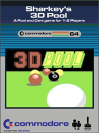 Box cover for Sharkey's 3D Pool on the Commodore 64.