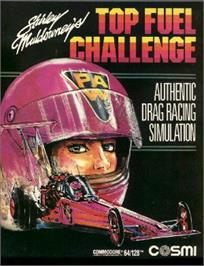 Box cover for Shirley Muldowney's Top Fuel Challenge on the Commodore 64.