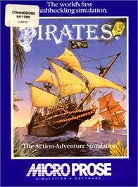 Box cover for Sid Meier's Pirates! on the Commodore 64.