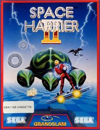 Box cover for Space Harrier II on the Commodore 64.