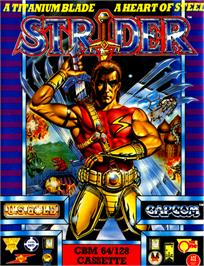 Box cover for Strider on the Commodore 64.