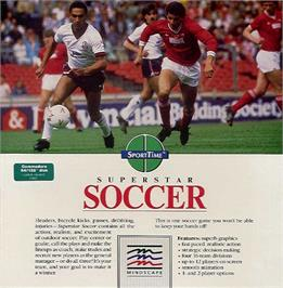 Box cover for SuperStar Soccer on the Commodore 64.
