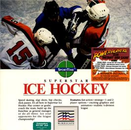 Box cover for Superstar Ice Hockey on the Commodore 64.