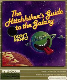 Box cover for The Hitchhiker's Guide to the Galaxy on the Commodore 64.
