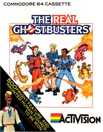 Box cover for The Real Ghostbusters on the Commodore 64.