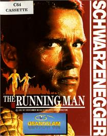 Box cover for The Running Man on the Commodore 64.