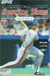 Box cover for The Sporting News Baseball on the Commodore 64.