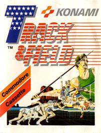 Box cover for Track & Field on the Commodore 64.