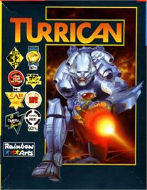 Box cover for Turrican on the Commodore 64.