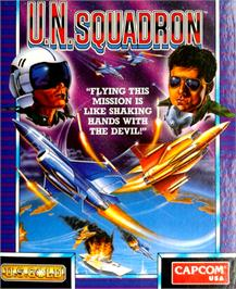 Box cover for U.N. Squadron on the Commodore 64.