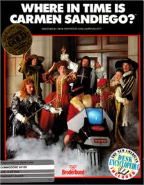 Box cover for Where in Time is Carmen Sandiego? on the Commodore 64.