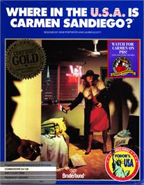 Box cover for Where in the USA is Carmen Sandiego? on the Commodore 64.