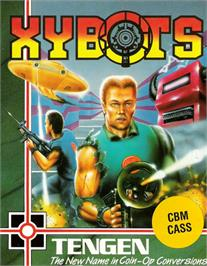 Box cover for Xybots on the Commodore 64.