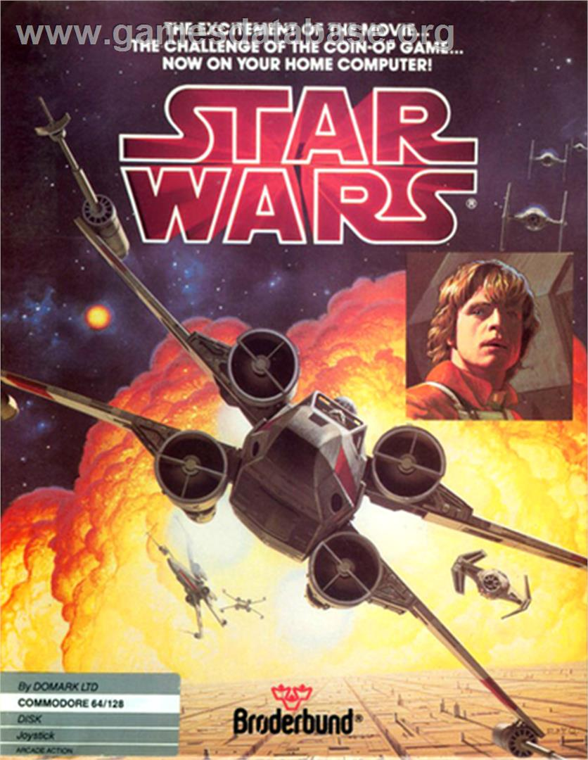 Box cover for Star Wars: The Empire Strikes Back on the Commodore 64.