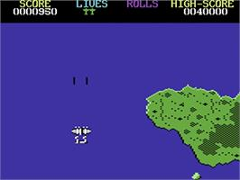 In game image of 1942 on the Commodore 64.