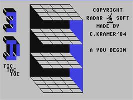 In game image of 3-D Tic-Tac-Toe on the Commodore 64.