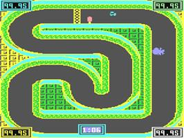 In game image of 3D Stock Cars II on the Commodore 64.