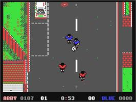 In game image of 4 Soccer Simulators on the Commodore 64.