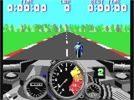 In game image of 500cc Motomanager on the Commodore 64.