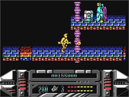 In game image of A.M.C.: Astro Marine Corps on the Commodore 64.