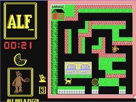 In game image of ALF: The First Adventure on the Commodore 64.