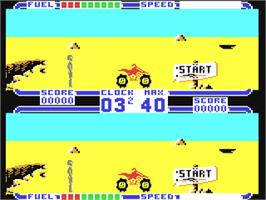 In game image of ATV Simulator on the Commodore 64.