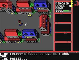 In game image of A Nightmare on Elm Street on the Commodore 64.