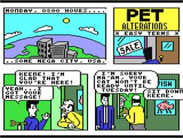 In game image of Accolade Comics: Steve Keene, Private Spy on the Commodore 64.