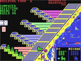 In game image of Advance to Boardwalk on the Commodore 64.