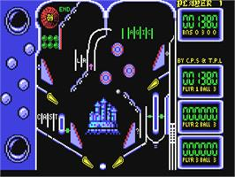 In game image of Advanced Pinball Simulator on the Commodore 64.