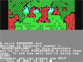 In game image of Adventureland on the Commodore 64.