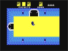 In game image of Alcazar: The Forgotten Fortress on the Commodore 64.