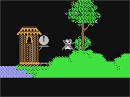 In game image of Alice in Wonderland on the Commodore 64.