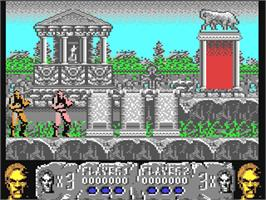 In game image of Altered Beast on the Commodore 64.