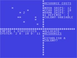 In game image of Andromeda Conquest on the Commodore 64.