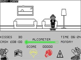 In game image of Andy Capp: The Game on the Commodore 64.