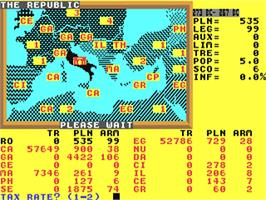 In game image of Annals of Rome on the Commodore 64.