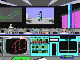 In game image of Apollo 18: Mission to the Moon on the Commodore 64.