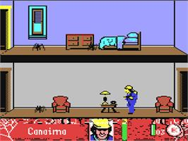 In game image of Arachnophobia on the Commodore 64.