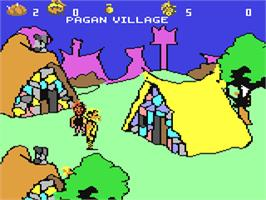 In game image of Ardok the Barbarian on the Commodore 64.
