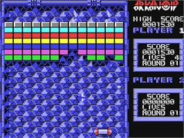 In game image of Arkanoid on the Commodore 64.