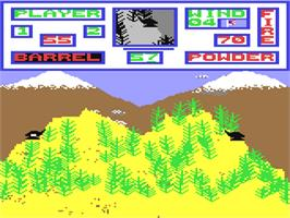 In game image of Artillery Duel on the Commodore 64.