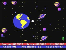 In game image of Astro Chase on the Commodore 64.