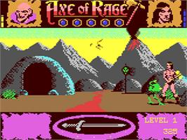 In game image of Axe of Rage on the Commodore 64.